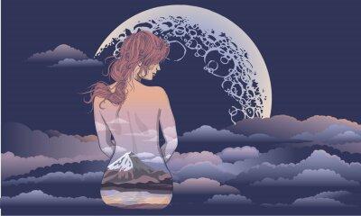 Fototapet En romantisk tjej sitter på månens bakgrund. Kroppskonstflicka, kropp målade med landskap. Romantisk tjej på bakgrunden av månen och stjärnhimmel tatuering och t-shirtdesign. kvinna sitter i th
