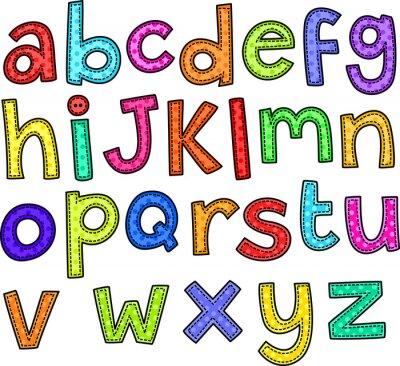 Fototapet En söm stil klotter uppsättning handritad alfabetet.