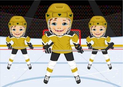 Fototapet En ung hockeylag i uniform