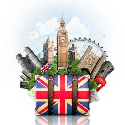 Fototapet England, brittiska landmärken, resor och retro resväska