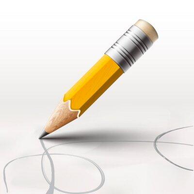 Fototapet Enkel blyerts på vit bakgrund, vektor Eps10 illustration.