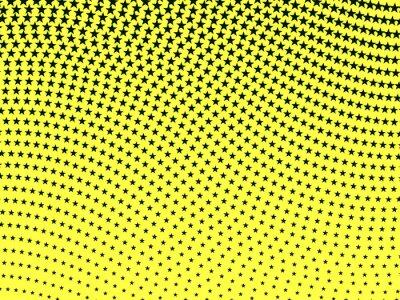 Fototapet Enkel retro wavy halvton mönster av svarta stjärnor på en gul ba