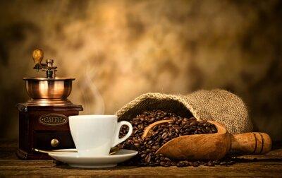 Fototapet Espressokaffe med gamla kaffekvarn