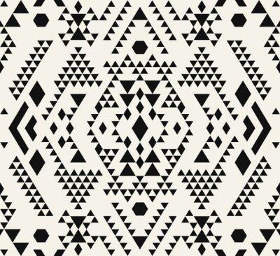 Fototapet Etniska mönsterdesign. Navajo geometriska tryck. Rustika dekorativa ornament. Tyg design, tapet, omslag. Vektor illustration. Abstrakt geometriskt mönster. Native American mönster.
