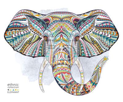 Fototapet Etniska mönstrad chef för elefant på grange bakgrund / afrikansk / indiska / totem / tatuering design. Används för tryck, affischer, t-shirts.