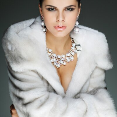 Fototapet Ett foto av sexuell vacker flicka är i mode stil