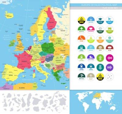 Fototapet Europa detaljerad politisk map.Flat ikoner