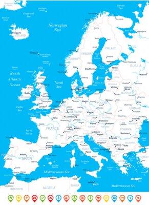 Fototapet Europa karta - mycket detaljerade vektorillustration.