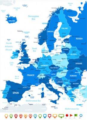 Fototapet Europa karta - mycket detaljerade vektorillustration. Bild innehåller landkonturer, land och landnamn, stadsnamn, vatten objektnamn, navigering ikoner.