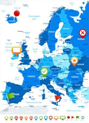 Fototapet Europa - karta och navigering ikoner - illustration.Image innehåller nästa skikt: landkonturer, land och landnamn, stadsnamn, vatten objektnamn, navigering ikoner.