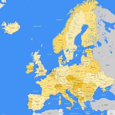Fototapet Europa kartlägger städer