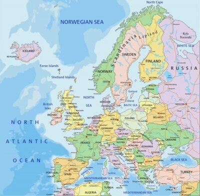 Fototapet Europa - Mycket detaljerade redigerbar politiska kartan.