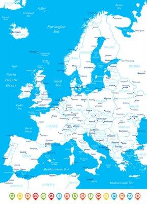 Fototapet Europe - karta, navigering ikoner - illustration.Image innehåller nästa skikt: landkonturer, land och landnamn, stadsnamn, vatten objektnamn, navigering ikoner.
