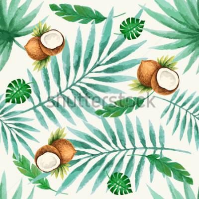 Fototapet Exotiska frukter sömlösa mönster, akvarell, vektor illustration.