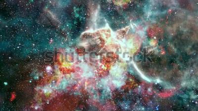 Fototapet Explosionens supernova. Ljusa stjärnnebulan. Avlägsen galax. Nyttårs fyrverkerier. Abstrakt bild. Delar av denna bild från NASA.
