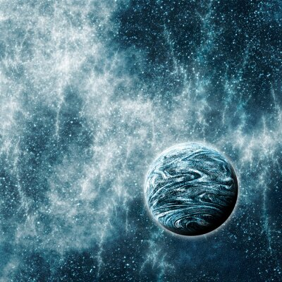 Fototapet Extrasolar planet i en skev Space Time Region