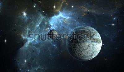 Fototapet Extrasolar planet. Stenplanet med månen på bakgrundsnebulan. 3D-illustration