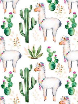 Fototapet exture med hög kvalitet handmålade vattenfärg element för din design med kaktus växter, blommor och lama.For din unika skapelse, tapeter, bakgrund, bloggar, mönster, inbjudningar och mer