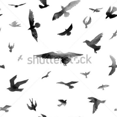 Fototapet Fåglar. Akvarell sömlös mönster. Raster illustration.