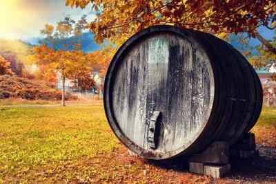 Fototapet Fall landskap med gamla trä vinfat