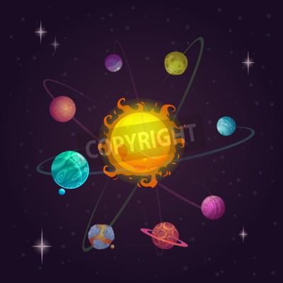 Fototapet Fantasi solsystem, planeter och stjärn, rymdvektorillustration