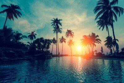 Fototapet Fantastisk solnedgång, palmträd i tropisk strand.