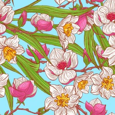 Fototapet färg magnolior och narcisser