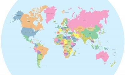 Fototapet Färg politisk karta över världen vektorn