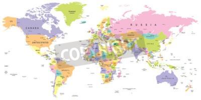 Fototapet Färgad världskarta - gränser, länder och städer - illustration