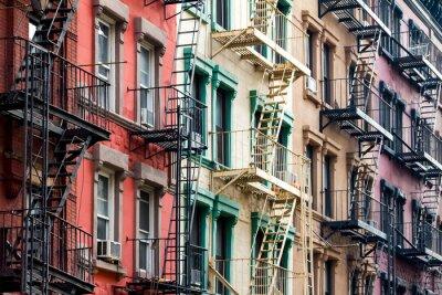 Fototapet Färgade flerbostadshus i New York