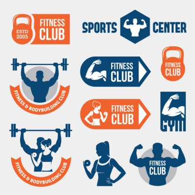 Fototapet Färgade gym etiketter