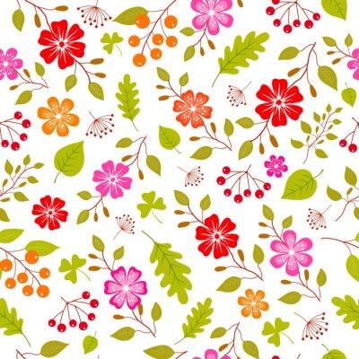 Fototapet Färgglada blommor seamless