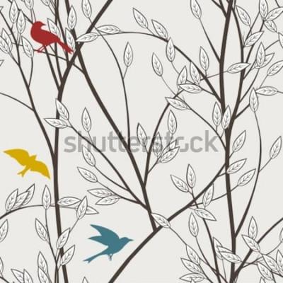 Fototapet färgglada fåglar och grenar