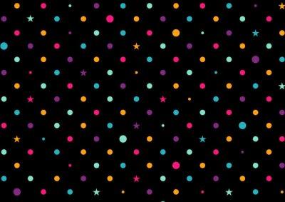 Fototapet Färgglada prickar svart bakgrund vektorillustration