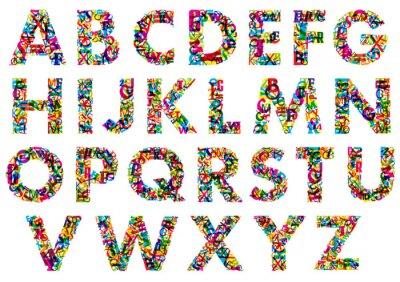 Fototapet Färgglada versaler alfabetet