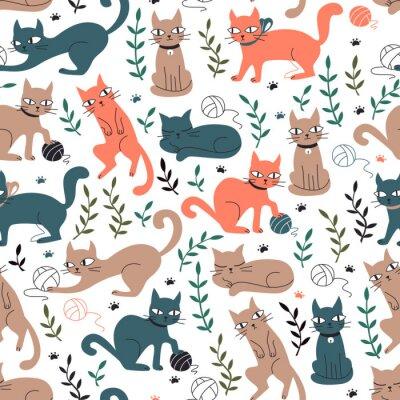 Fototapet Färgglatt sömlöst mönster med katter och löv.