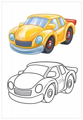 Fototapet färgning av gul leksaksbil