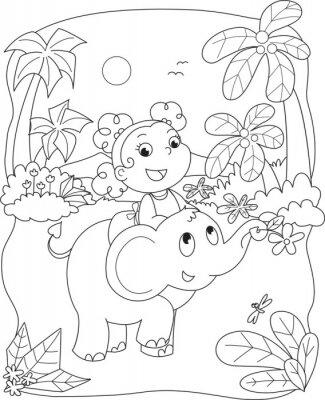 Fototapet Färgning illustration av en flicka som rider en elefant
