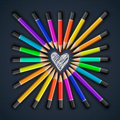 Fototapet Färgpennor, hjärta formar, vektor Eps10 illustration.
