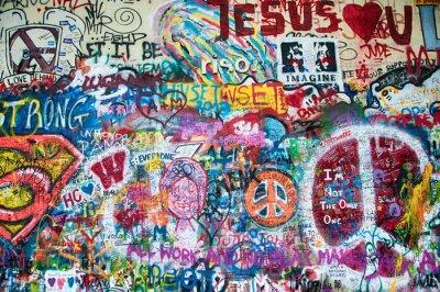 Fototapet Färgrik John Lennon vägg i Prag