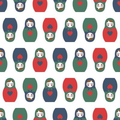 Fototapet Färgrik kapslade docka seamless. Söta trä Rysk docka - Matrioshka. Kapslade docka Matrioshka illustration isolerad på vit bakgrund.