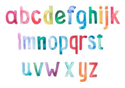 Fototapet Färgrik vattenfärg akvarell typsnitt handskrivna hand dra