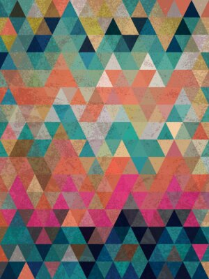 Fototapet Färgrika trianglar med antik stil bakgrund