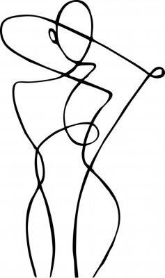 Fototapet Female figure, drawn in one line