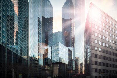 Fototapet Financial District i solsken