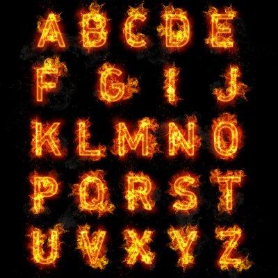 Fototapet Fire teckensnitt text alla bokstäver i alfabetet på svart bakgrund