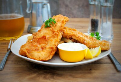 Fototapet Fisk och pommes frites