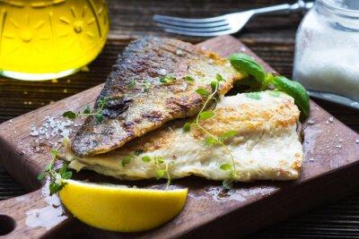 Fototapet Fiskfilé med olivolja och citron