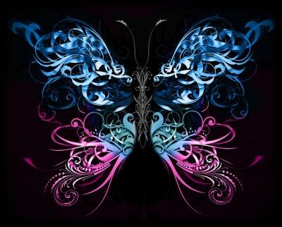 Fototapet fjäril gjord av krusidull abstrakta former