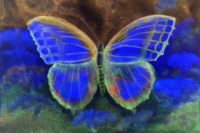Fototapet Fjäril i en phantasyvärld. Den badda teknik ger en mjuk fokus effekt på grund av den förändrade ytjämnhet av papperet.
